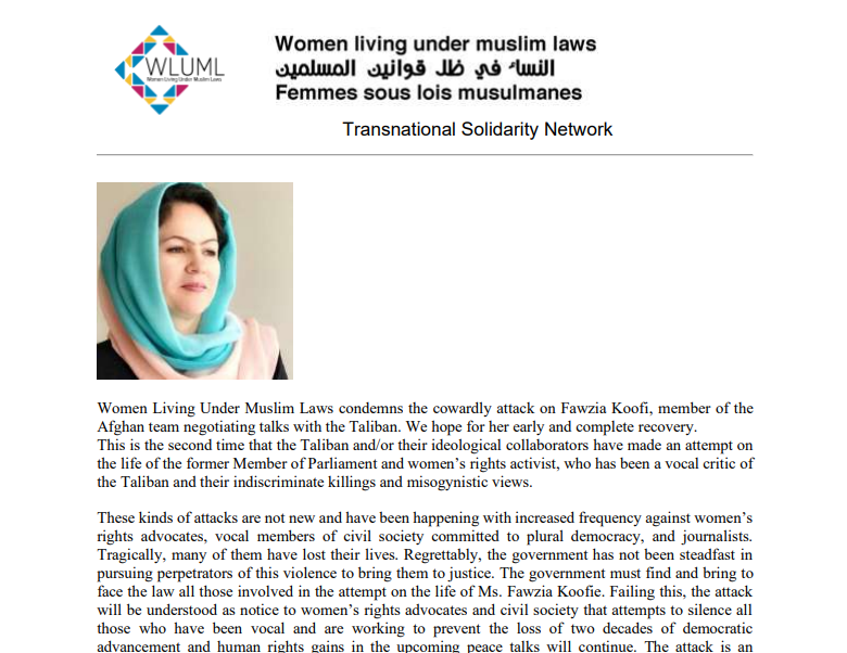 WLUML Solidarity Letter with Afghan Women Fawzia Koofi