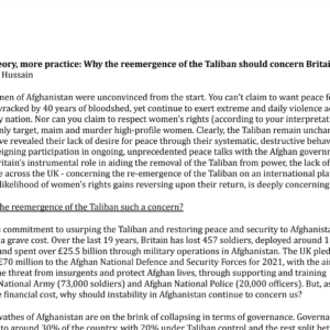Less theory, more practice: Why the reemergence of the Taliban should concern Britain