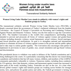 WLUML Stands in Solidarity with Women's Rights and Feminist Groups in Turkey