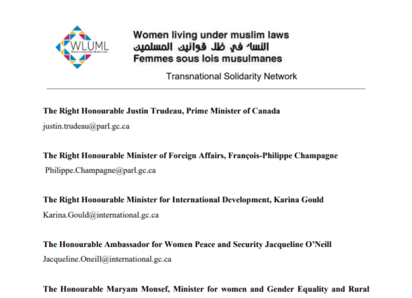 WLUML Letter to the Canadian Govt.: Support of Afghan Women's Demands