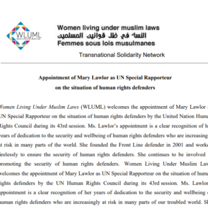 Appointment of Mary Lawlor as UN Special Rapporteur on the situation of human rights defenders