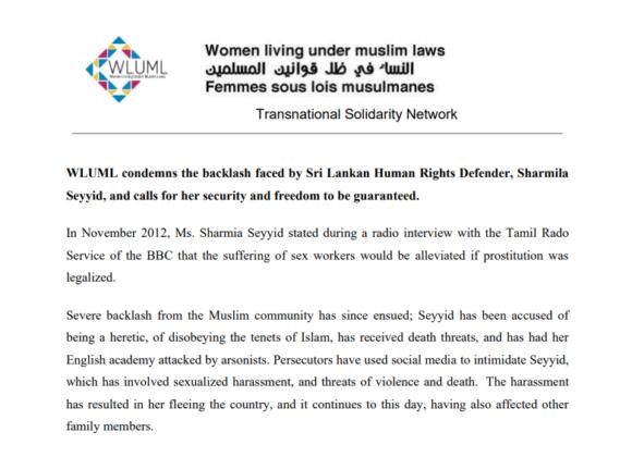 WLUML condemns the harassment of Sri Lankan activist Sharmila Seyyid