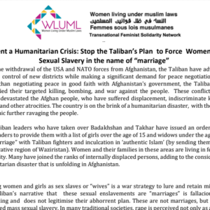 WLUML Solidarity Statement: Stop the Taliban Plan to Force